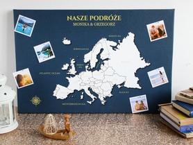 EUROPA MAPA PERSONALIZOWANA NA KORKU 40 x 60 cm GRANATOWA