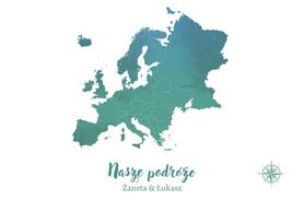 EUROPA MAPA PERSONALIZOWANA NA KORKU 40 x 60 cm TURKUSOWA