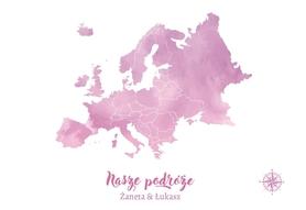 EUROPA MAPA PERSONALIZOWANA NA KORKU 40 x 60 cm RÓŻ/FIOLET