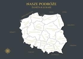 POLSKA MAPA PERSONALIZOWANA NA KORKU 60 x 90 cm GRANATOWA
