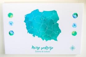 POLSKA MAPA PERSONALIZOWANA NA KORKU 40 x 60 cm TURKUSOWA