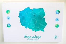 POLSKA MAPA PERSONALIZOWANA NA KORKU 60 x 90 cm TURKUSOWA