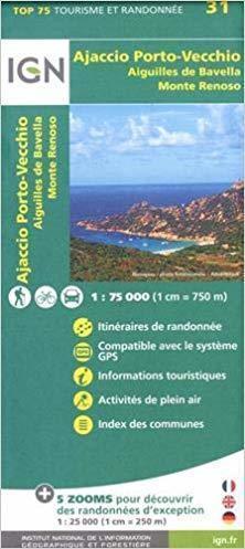 AJACCIO PORTO VECCHIO AIGUILLES DE BAVELLA MONTE RENOSO mapa turystyczna IGN 2019