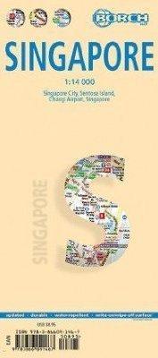 SINGAPORE SINGAPUR plan miasta laminowany 1:14 000 BORCH MAP