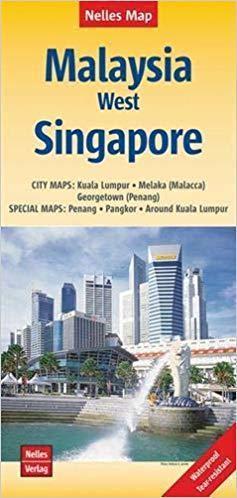 MALEZJA ZACHODNIA I SINGAPUR wodoodporna mapa samochodowa 1:1 500 000 / 1:15 000 NELLES 2019