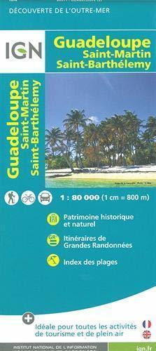 GUADELOUPE SAINT MARTIN SAINT BARTHELEMY mapa turystyczna 1:80 000 IGN 2019