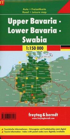 GÓRNA I DOLNA BAWARIA I SZWABIA mapa samochodowa 1:150 000 FREYTAG & BERNDT 2019 (2)