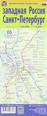 SANKT PETERSBURG ROSJA ZACHODNIA mapa 1:14 000 / 1:3 200 000 ITMB 2019 (2)