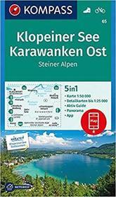 KLOPEINER SEE, KARAWANKER OST, STEINER ALPEN 65 mapa turystyczna 1:50 000 KOMPASS