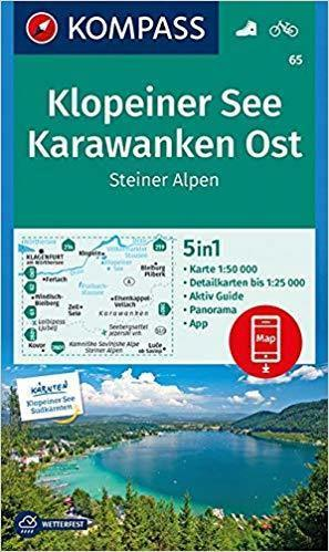 KLOPEINER SEE, KARAWANKER OST, STEINER ALPEN 65 mapa turystyczna 1:50 000 KOMPASS (1)