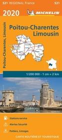 POITOU-CHARENTE - LIMOUSIN mapa 1:200 000 MICHELIN 2020