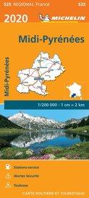 MIDI-PYRENEES mapa 1:200 000 MICHELIN 2020