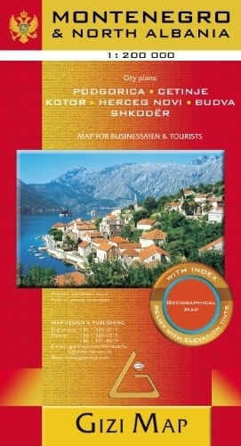 CZARNOGÓRA, PÓŁNOCNA ALBANIA mapa geograficzna 1:200 000 GIZIMAP 2019