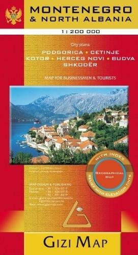 CZARNOGÓRA, PÓŁNOCNA ALBANIA mapa geograficzna 1:200 000 GIZIMAP 2019 (1)