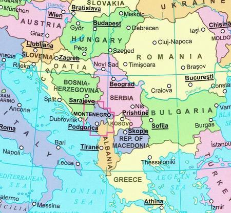 CZARNOGÓRA, PÓŁNOCNA ALBANIA mapa geograficzna 1:200 000 GIZIMAP 2019 (4)