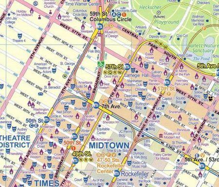 MANHATTAN NOWY JORK 1:12 500  plan miasta i mapa OD BOSTONU DO WASZYNGTONU 1:1 000 000 ITMB (2)