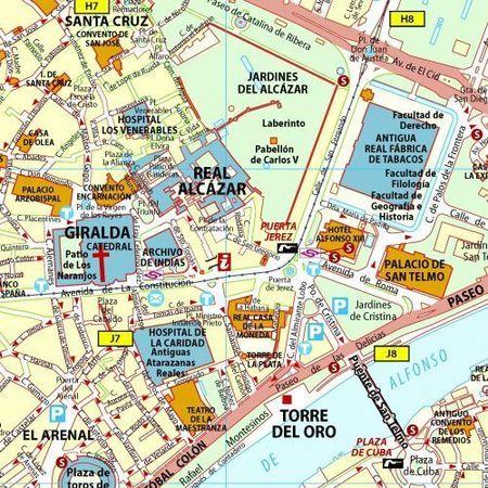 SEWILLA SEVILLA laminowany plan miasta 1:12 500 MICHELIN 2018 (2)