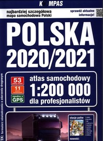 POLSKA 2020/2021 Atlas samochodowy dla profesjonalistów 1: 200 000 KOMPASS