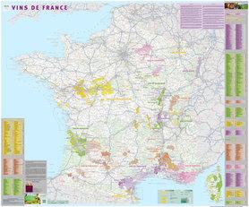 VINS DE FRANCE Regiony Winne Francji ścienna mapa laminowana IGN