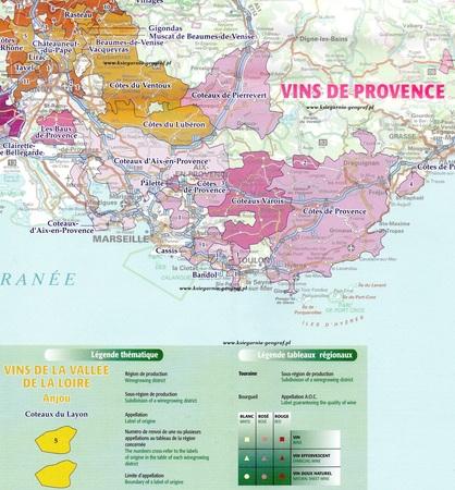 VINS DE FRANCE Regiony Winne Francji ścienna mapa laminowana IGN (2)