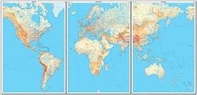 ŚWIAT FIZYCZNY 3 arkusze map 143 x 289 cm IGN