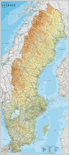 SZWECJA ścienna mapa fizyczna 1:900 000 Norstedts