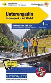 14 - Unterengadin wodoodporna mapa turystyczna 1:60 000 Kummerly + Frey
