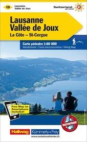 15 Lausanne / Vallée de Joux wodoodporna mapa turystyczna 1:60 000 Kummerly + Frey