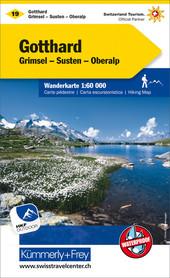 19 - Gotthard / Grimsel-Susten-Oberalp wodoodporna mapa turystyczna 1:60 000 Kummerly + Frey