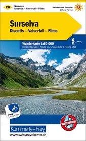 20 - Surselva / Valsertal wodoodporna mapa turystyczna 1:60 000 Kummerly + Frey