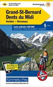 22 - Grand-St-Bernard / Dents du Midi / Les Diablerets wodoodporna mapa turystyczna 1:60 000 Kummerly + Frey
