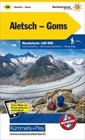 25 - Aletsch / Goms wodoodporna mapa turystyczna 1:60 000 Kummerly + Frey