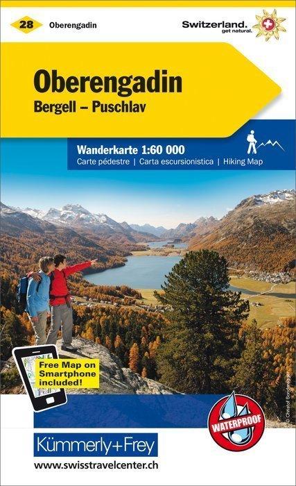 28 - Upper Engadine wodoodporna mapa turystyczna 1:60 000 Kummerly + Frey (1)