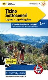 29 - Tessin - Sottoceneri / Lugano - Lago Maggiore wodoodporna mapa turystyczna 1:60 000 Kummerly + Frey