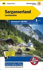 30 - Sarganserland wodoodporna mapa turystyczna 1:60 000 Kummerly + Frey