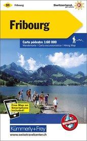 31 - Fribourg wodoodporna mapa turystyczna 1:60 000 Kummerly + Frey
