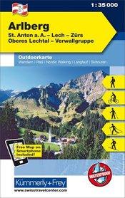 03 Arlberg laminowana mapa turystyczna 1:35 000 KUMMERLY + FREY