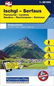 04 Ischgl - Serfaus laminowana mapa turystyczna 1:35 000 KUMMERLY + FREY