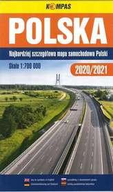 POLSKA 2020/2021 mapa samochodowa 1:700 000 KOMPASS PWN