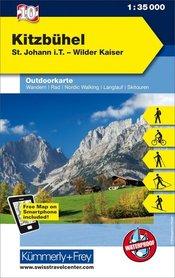 10 Kitzbühel laminowana mapa turystyczna 1:35 000 KUMMERLY + FREY