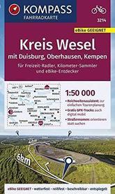 KREIS WESEL Duisburg Oberhausen Kempen 1:50 000 FK 3214 mapa turystyczna KOMPASS