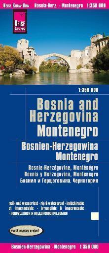BOŚNIA I HERCEGOWINA / CZARNOGÓRA mapa 1:725 000 REISE KNOW HOW 2020