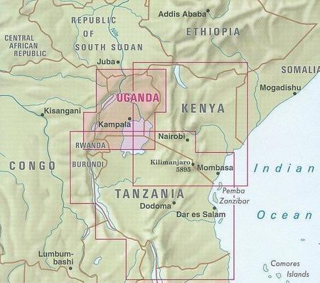 UGANDA mapa wodoodporna 1:700 000 NELLES 2020 (5)