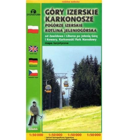GÓRY IZERSKIE KARKONOSZE POGÓRZE IZERSKIE KOTLINA JELENIOGÓRSKA mapa turystyczna SYGNATURA/CARTOMEDIA (1)