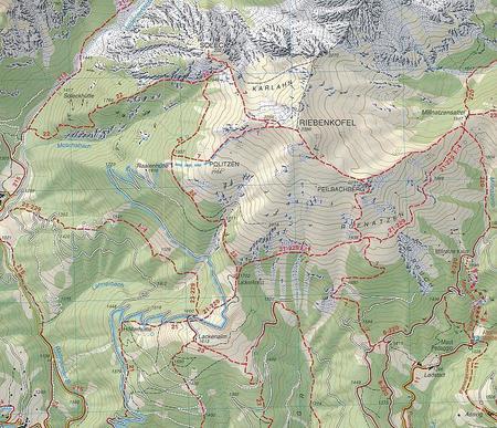 072 LIENZER DOLOMITEN LESACHTAL OBERTILLIACH mapa turystyczna 1:25 000 TABACCO (2)
