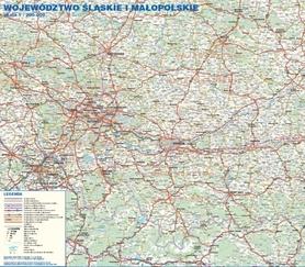 WOJEWÓDZTWO ŚLĄSKIE  MAŁOPOLSKIE 1:200 000 mapa ścienna STUDIO PLAN 2020