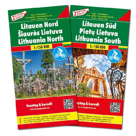 LITWA mapa rowerowa 2 arkusze PN i PD 1:150 000 Freytag & Berndt 2019 (3)
