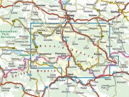 BESKID SĄDECKI laminowana mapa turystyczna 1:50 000 COMPASS 2020 (3)