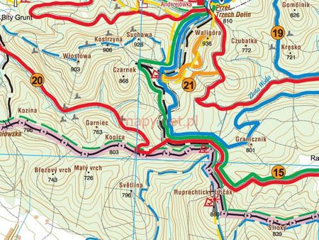 GÓRY SOWIE, GÓRY SUCHE, MIEROSZOWSKIE ŚCIANY, GÓRY BARDZKIE mapa tras rowerowych MTB 1:50 000 PLAN (2)