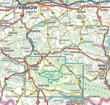 GORCE laminowana mapa turystyczna 1:40 000 COMPASS 2020 (3)